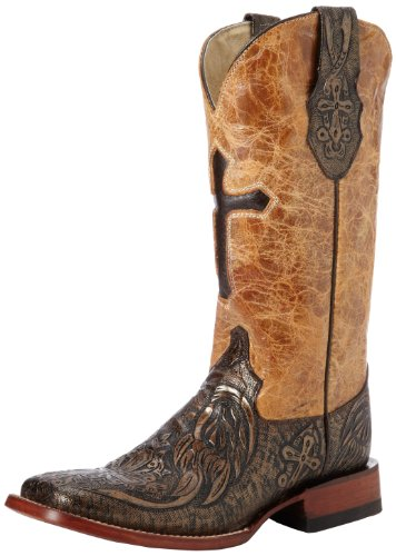 Ferrini 8189338065B Ladies Embossed Cross Square Toe Boots G