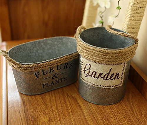 VANCORE(TM) Oval Mini Metal Planter Pot Rustic Metal Bucket Vase Holder with Hemp Rope Handle for Home Decor 3