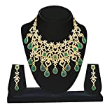 Kanish Charming Design Studded Austrain White & Green Pota Stone Necklace Set