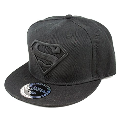 dc comics superman casquette de baseball classic logo snapback casquette noir. Black Bedroom Furniture Sets. Home Design Ideas