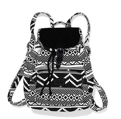 Victoria's Secret PINK Black & White Aztec Mini Backpack Book Bag School Bag~ Sold Out