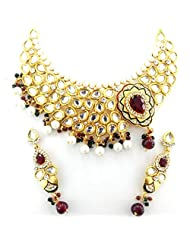 Seasons4 Red Metal Choker Necklace-Earring Set For Women-NA10A304