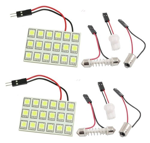 Cutequeen Trading 2Pcs Blue 5050 18Smd 18-Smd Led Panel Dome Light Lamp + T10 Ba9S Festoon Adapter (Pack Of 2)