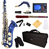Mendini by Cecilio MTS-BL+92D Blue Lacquer B Flat Tenor Saxophone with Tuner, Case, Mouthpiece, 10 Reeds and More