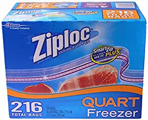 Ziploc Double Zipper Quart Freezer Bags, 216 Count