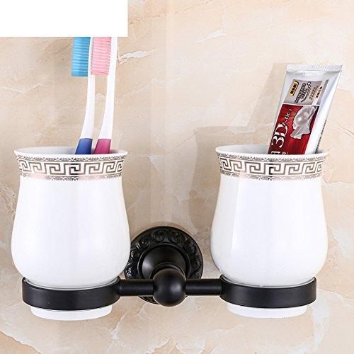 Black toothbrush cup holder/Retro Tumbler holder/porcelain cup-B