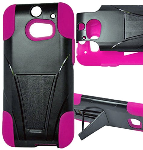 Mylife Flower Pink + Black {Layered Design} Two Piece Neo Hybrid (Shockproof Kickstand) Case For The All-New Htc One M8 Android Smartphone - Aka, 2Nd Gen Htc One (External Hard Fit Armor With Built In Kick Stand + Internal Soft Silicone Rubberized Flex Ge