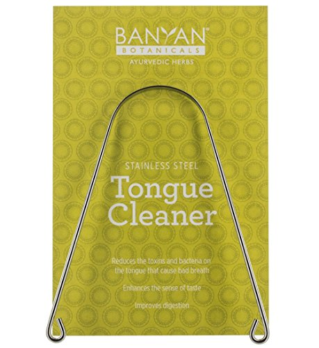 Banyan Botanicals Ayurvedic Tongue Cleaner Scraper - Stainless Steel - Tridoshic - Made in the USA - Reduces toxin buildup and bacteria on the tongue