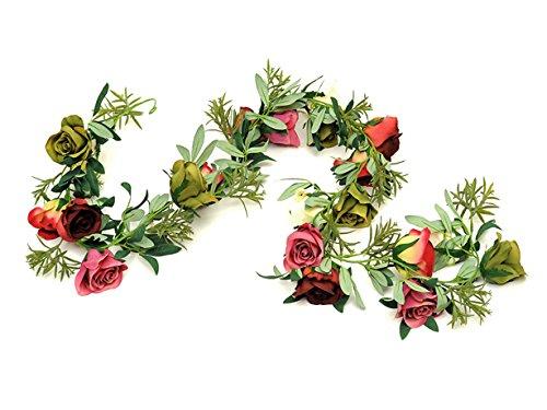 Country Baskets 180 cm-Guirlande de roses artificielles Crème/Rose/vert