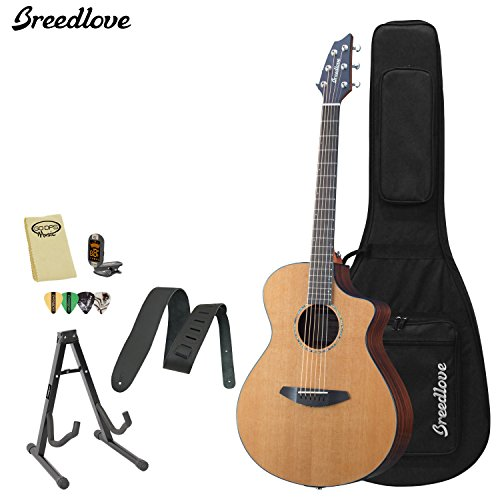Breedlove Solo Concert Acoustic Electric Guitar With Chromacast Strap, Stand, Picks, Tuner, Godpsmusic Polish Cloth, And Breedlove Deluxe Foam Shell Case