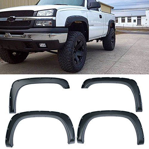 4pcs Front and Rear Textured Black Aftermarket Pocket Riveted Style ABS Plastic Fender Flares for 1999-2006 Chevy Silverado GMC Sierra 1500/1500 HD/2500/2500 HD/3500 2007 Classic Body Fleetside Bed (2004 Suburban Fender Flares compare prices)