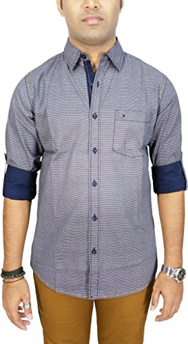 AA' Southbay Men's Navy Printed 100% Cotton Long Sleeve Casual Shirt