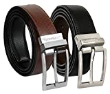 #7: Sortitio Men's Black & Brown Pu Leather Reversible Belt(Pack Of 1)