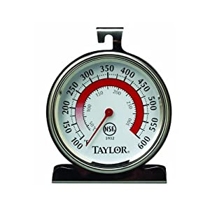 Taylor 5932 Oven Thermometer, Dial, 100-600 F degree, Stainless, NSF by Taylor