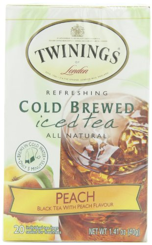 Twinings of London Cold Brew Teabags, Peach, 1.41 Ounce (Pack of 6)