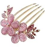 niceeshop(TM) Charm Fashion Womens Bridal Wedding Hair Barrettes Flower Leaf Crystal Rhinestone Hair Clip Comb