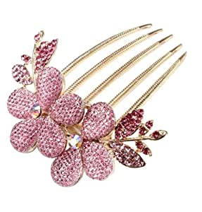 niceeshop(TM) Charm Fashion Womens Bridal Wedding Hair Barrettes Flower Leaf Crystal Rhinestone Hair Clip Comb-Pink