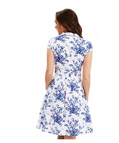 Joe Browns Women's Santorini Shirt A-Line Floral Short Sleeve Dress, Multicoloured (White/Blue), 18
