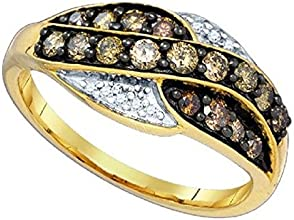 057 cttw 10k Yellow Gold Brown Diamond Wedding Anniversary Twisted Band Ring 8mm FREE SIZING