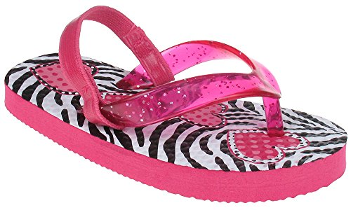 pictures of Capelli New York Glitter jelly thong on zebra hearts Toddler Girls Flip Flops Pink Combo 6/7