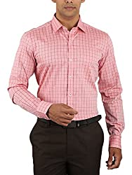 Warewell Men's Slim Fit Pure Cotton Pink Shirt