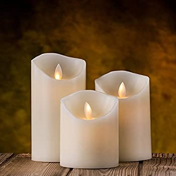 Air Zuker Flameless Candles Battery Operated Candles Real Wax Pillar LED Candles with Dancing Flame with 10-key Remote and Cycling 24 Hours Timer, Height 4