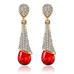 Crunchy Fashion Trendy Stylish and Fancy Party Wear Crystalline Drops Red Earrings for Girls and Women