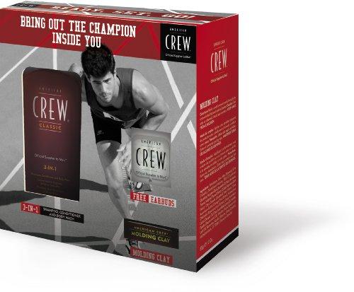 "American Crew ""Run"" Champion Edition Gift Set W/ Free Earbuds -Fiber 3.0Oz - 3-In-1 8.45Oz/250Ml - Free Earbuds"
