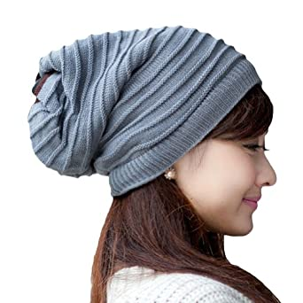 be8fc944579 LOCOMO Women Girl Striped Stripes Pattern Slouchy Knit Beanie Crochet Rib  Hat Tube Winter Warm FFH006GRY Gray on PopScreen