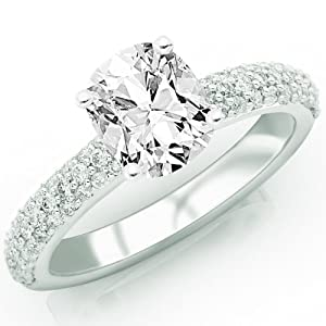 1.45 Carat Cushion Cut / Shape 14K White Gold Classic Triple Row Diamond Engagement Ring ( J Color , SI1 Clarity )