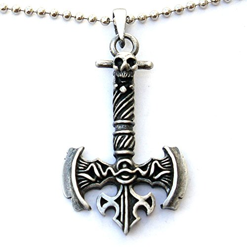 Medieval Viking Labrys Double edged Battle Axe Ax Pewter Pendant W Silver Ball Chain (Dragon Battleaxe)