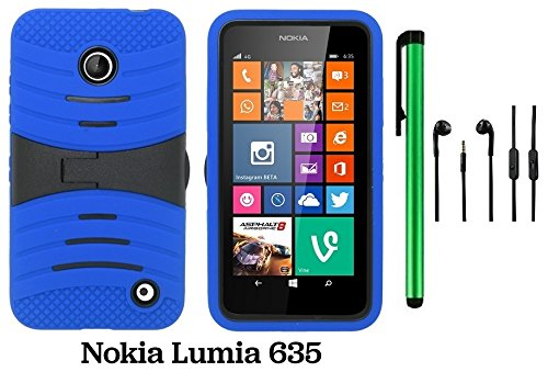 Premium Ucase With Kickstand Cover Case For Nokia Lumia 635 (Us Carrier: T-Mobile, Metropcs, And At&T) + 3.5Mm Stereo Earphones + 1 Of New Assorted Color Metal Stylus Touch Screen Pen (Blue / Black)