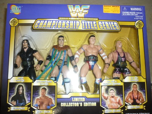 WWF Championship Title Series Limited Collectors Edition Undertaker - Rocky Maivia - British Bulldog - Owen Hart By Jakks Pacific