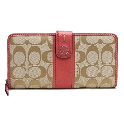 Coach 48784 Signature Stripe Accordion Zip Around Tab Wallet Light Khaki and Coral
