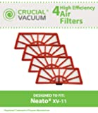 4 Neato XV-11 Air Filters Fits Neato XV-11 XV11 All Floor Robotic Vacuum Cleaner System; Compare to Neato Filter Part #945-0004 (9450004); Designed & Engineered by Crucial Vacuum