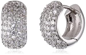 .925 Sterling Silver Hinge with Notched Post Cubic-Zirconia Earrings