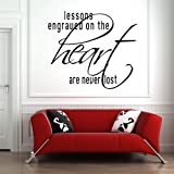 Lessons Engraved On The Heart Are Never Lost Wall Sticker Love Wall Decal Art available in 5 Sizes and 25 Colours Large Light Orange