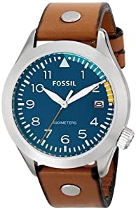 Fossil Men's AM4554 The Aeroflite Stainless Steel Watch with Tan Leather Band