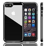 iPhone 7ケース iVAPO iPhone 7上質透明カバー PC+TPU二層 耐衝撃 シンプル 透明ケース クリア 取り出し易い 背面カバー アップルアイフォン7 4.7インチ専門ケース (ジェットブラック)