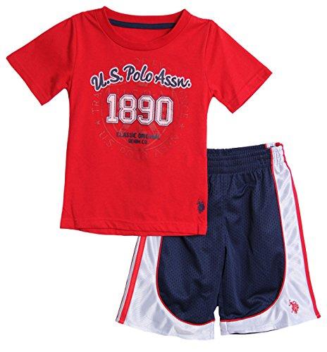 U.S. Polo Assn. Big Boys' T-Shirt And Mesh Athletic Short Set, Red, 10