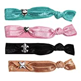 A Girl Company Elastic Hair Ties with Charms Set of 4