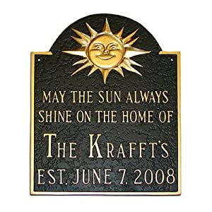 Established Sunshine Address Plaque Finish: Aged Bronze / Gold, Mounting: Wall