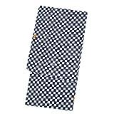 ジュニア浴衣単品130 140cm 紺色 市松模様 男児浴衣 モダン レトロ
