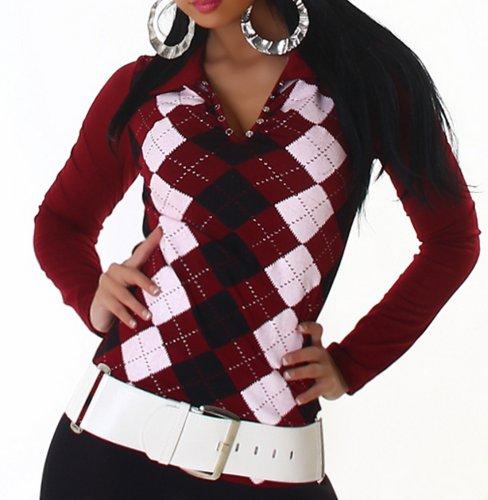 Jela London Damen Langarm-Shirt Karo-Rauten Größen 34-36 und 38-40 verschiedene Farben