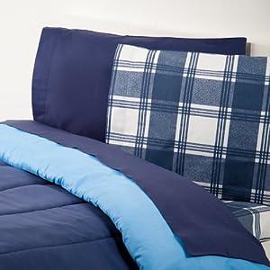 dorm bedding extra long twin sheet set navy plaid. Black Bedroom Furniture Sets. Home Design Ideas