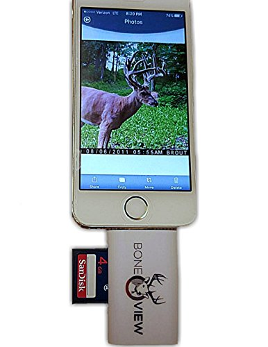 BoneView Trail and Game Camera Viewer for Apple iPhone, iPad, iPod | 8-pin lighnting connector | Reads SD, SDHC and Micro SD Cards