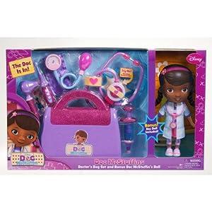 Doc Mcstuffins Doctor's Bag exclusive Gift Set with Doc Mcstuffins Doll & Sounds Light Stethoscope