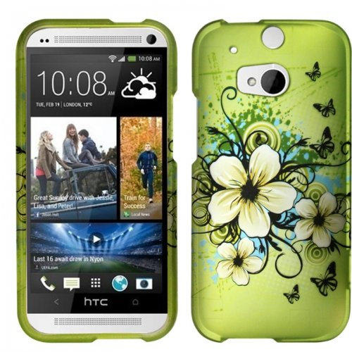 Green Hibiscus Butterfly Flower Design Case + Atom Led Keychain Light For Htc One M8