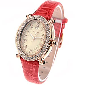 (ILEWAY) ABL-8801 Elegant Genuine Leather Quartz Analog Watches Wrist Watches Timepieces with Rhinestones f Female - Red SWWM2-224812