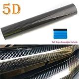 "Carbon Fiber Vinyl Wrap 5D High Gloss Bubble Free Air Release Big Texture Sheet Roll Film by PEATOP (60"" x 12"" / 5FT x 1FT)"